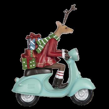 Hirsch auf Motorroller