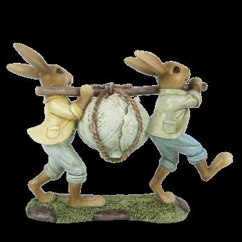 Kaninchen mit Stock und Salatkopf 21*6*15cm